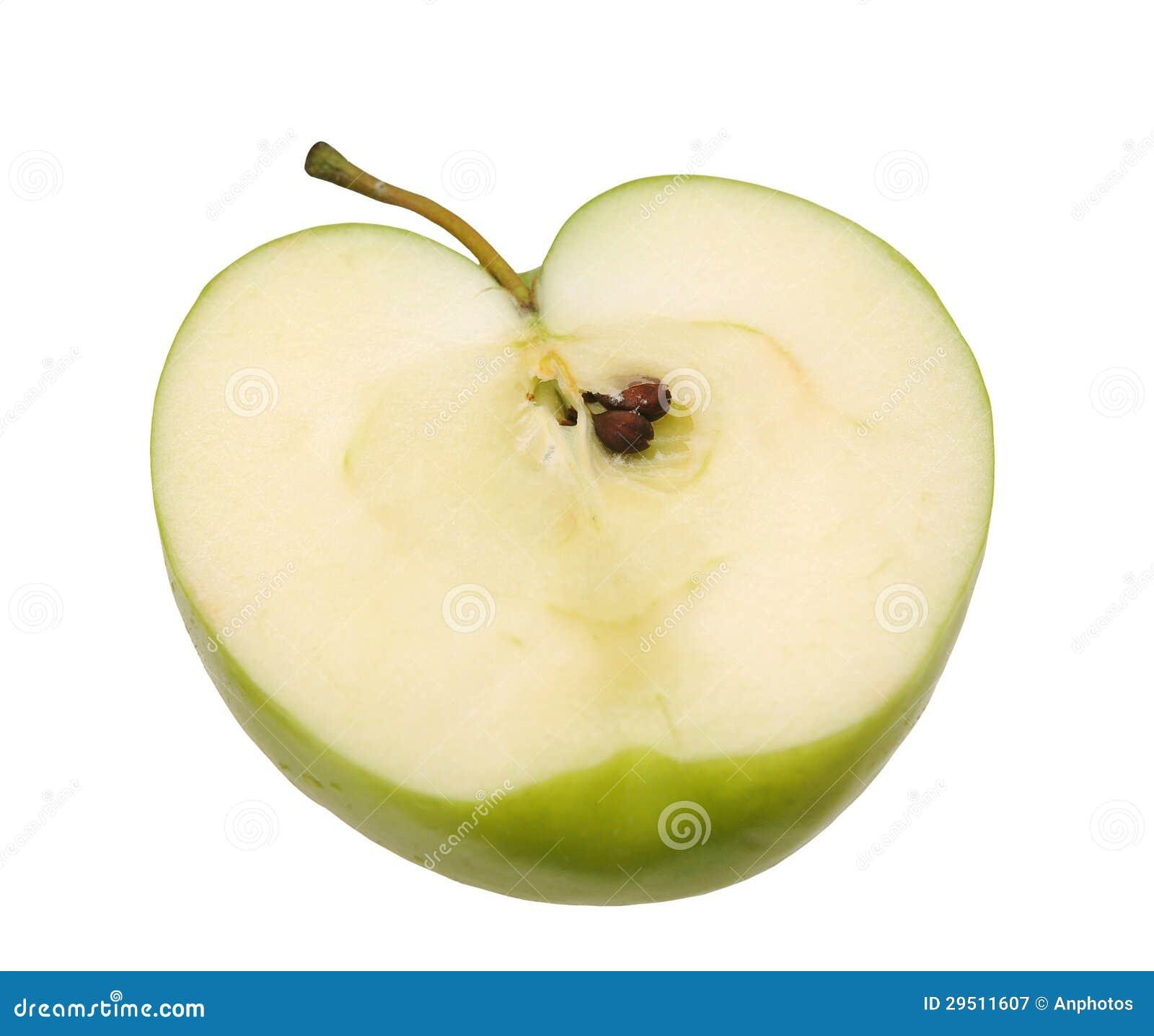 De helft van groene appel