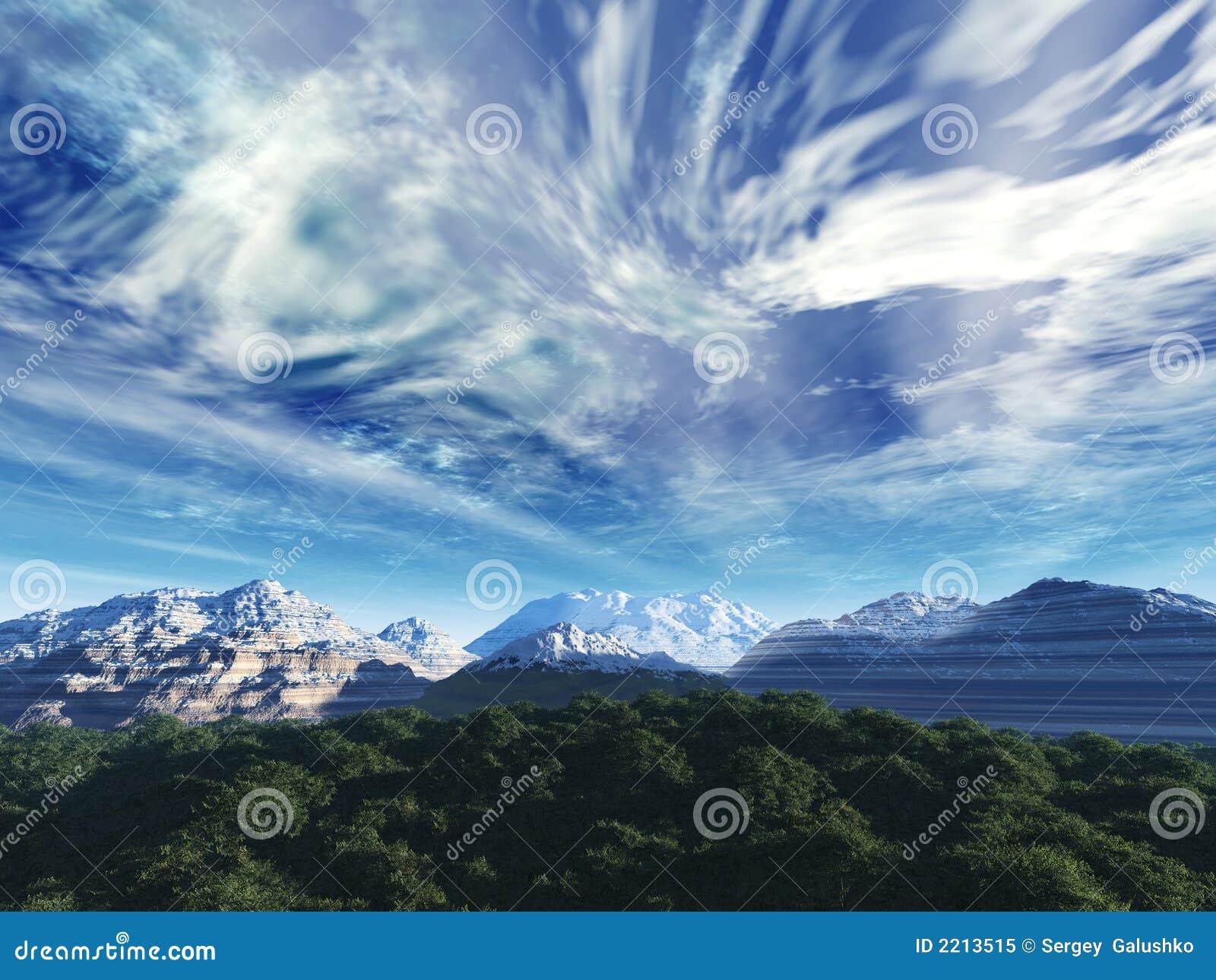 De hemel van het onweer boven sneeuwbovenkanten van m
