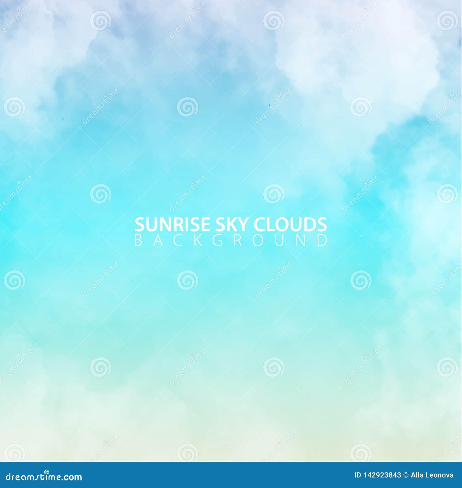 De hemel van de zonsopgangochtend met witte realistische wolken Vector illustratie