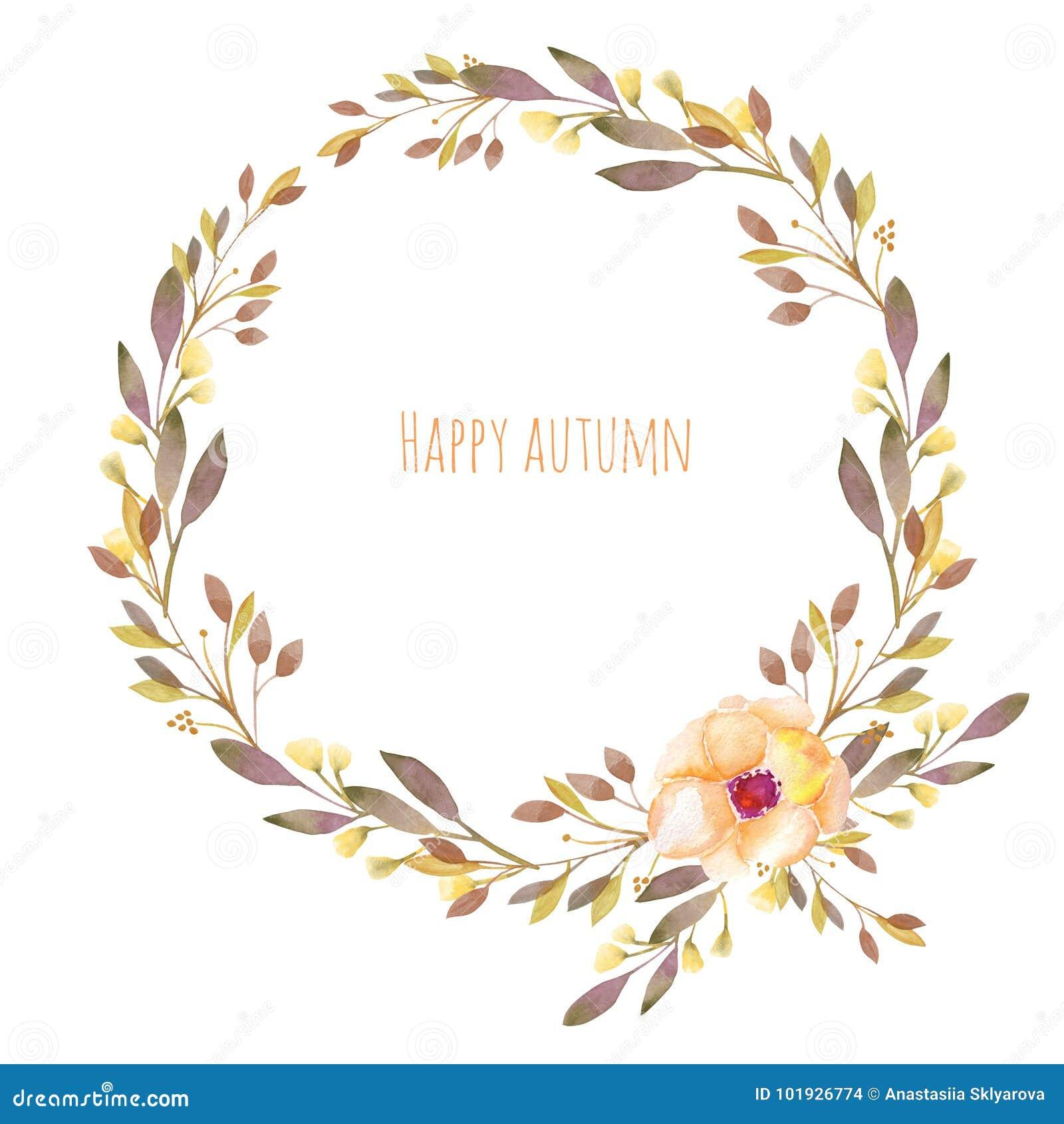 De herfst bloemenkroon met van de waterverfbloem en daling takken
