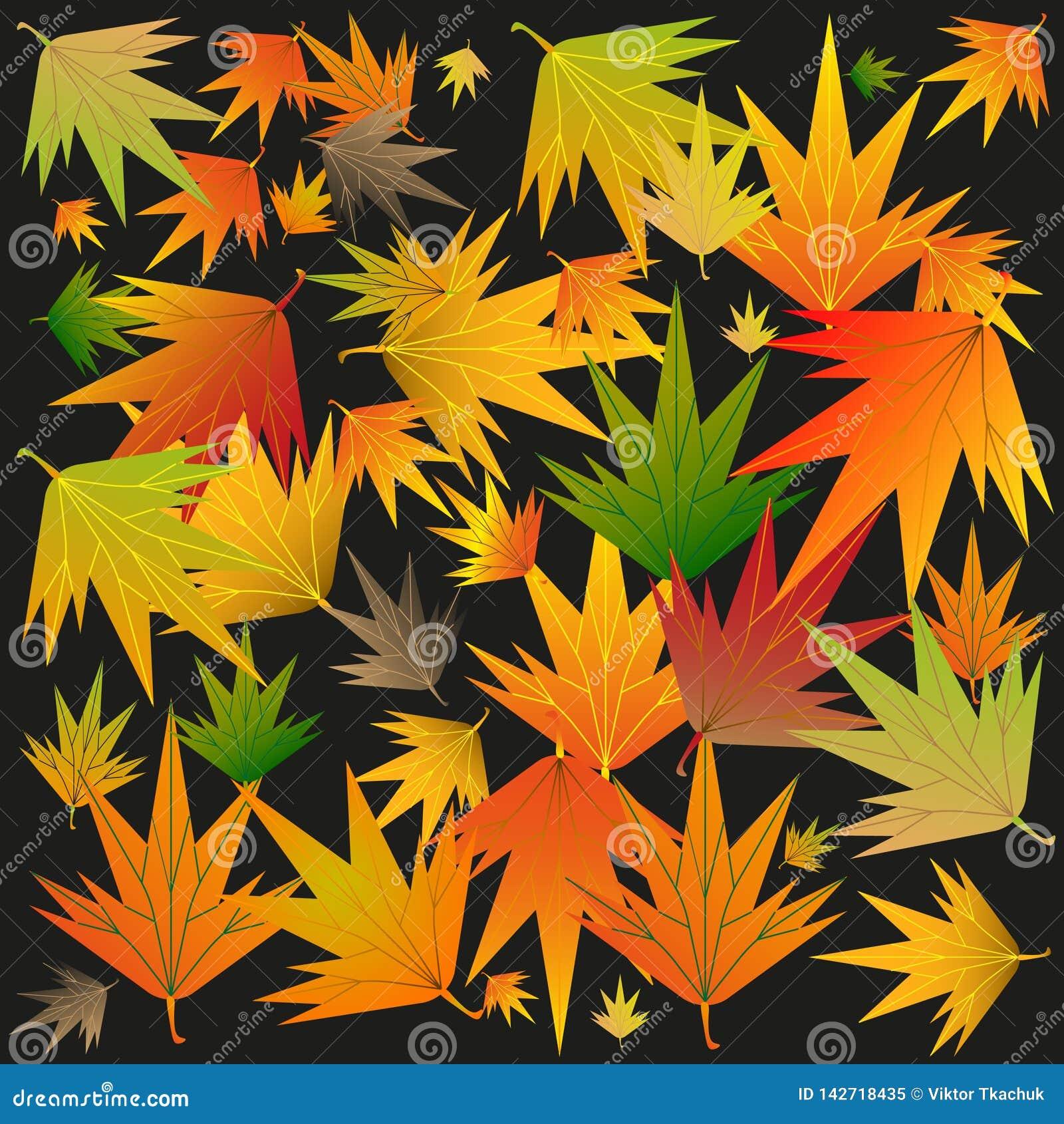 De herfstbladeren op een zwarte achtergrond