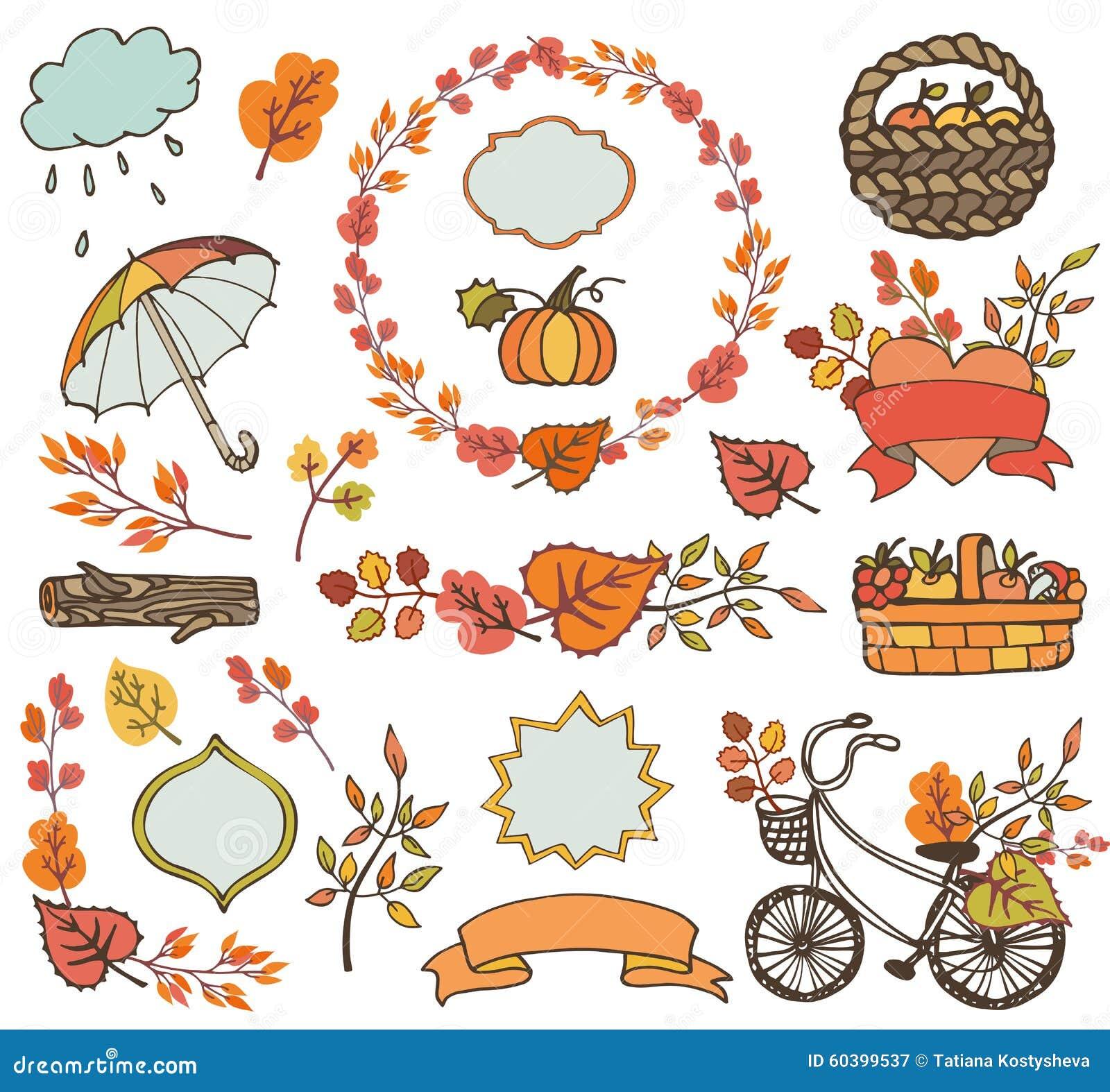 De herfstbladeren takken de decoratie van de installatieoogst vector illustratie afbeelding - Decoratie van de villas ...