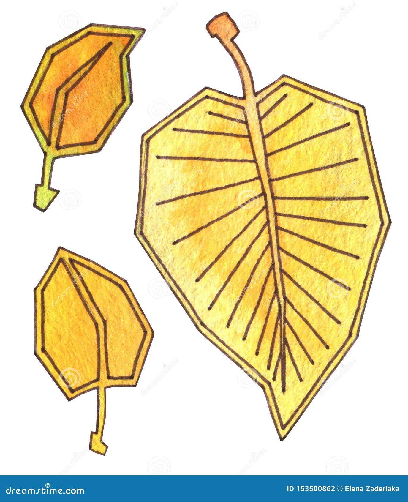De de herfstbladeren zijn geel en oranje De waterverf van de handtekening met overzicht De tijd van de oogst Rijpe appel ter plaa