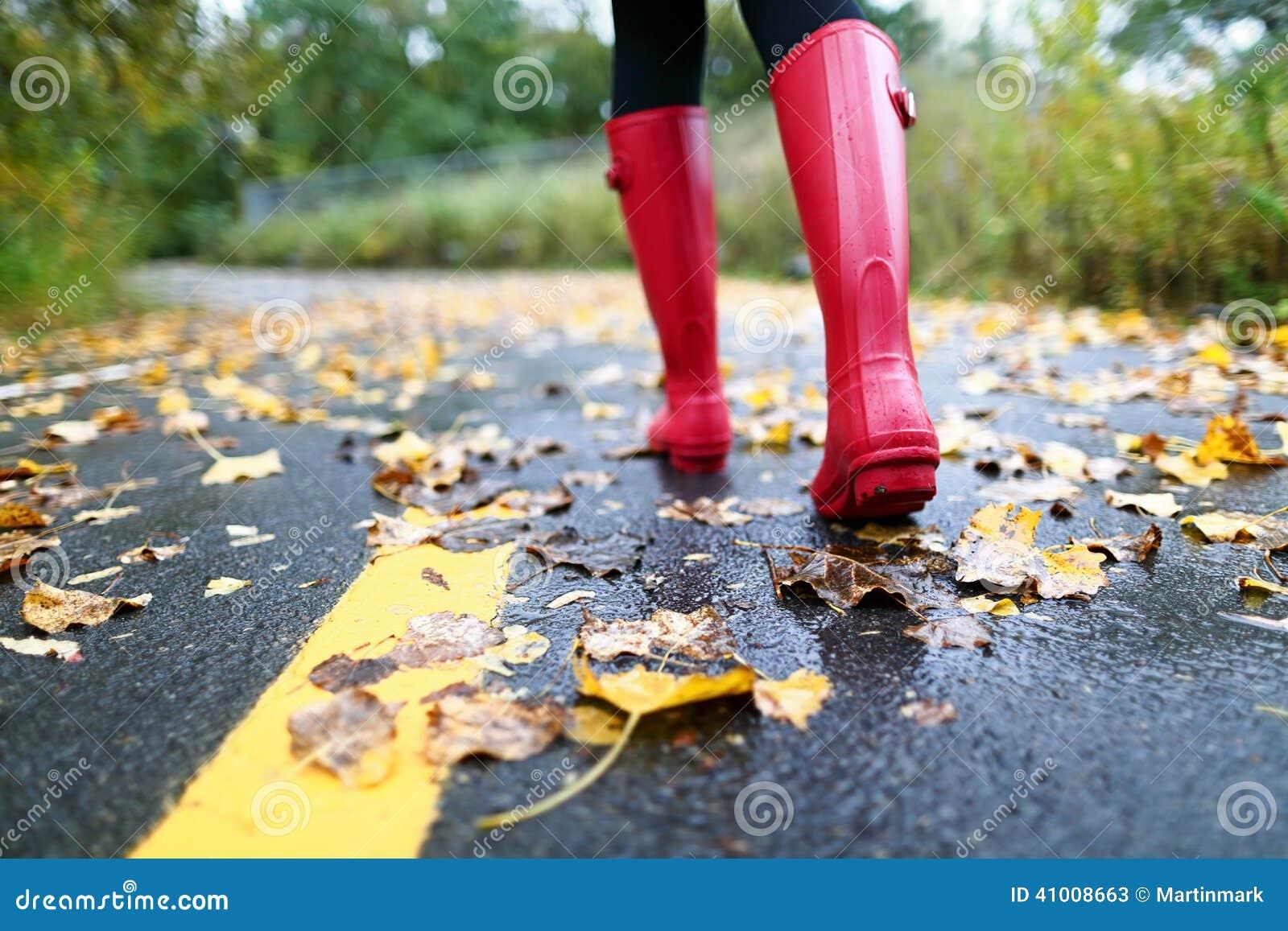 De herfstdaling met kleurrijke bladeren en regenlaarzen