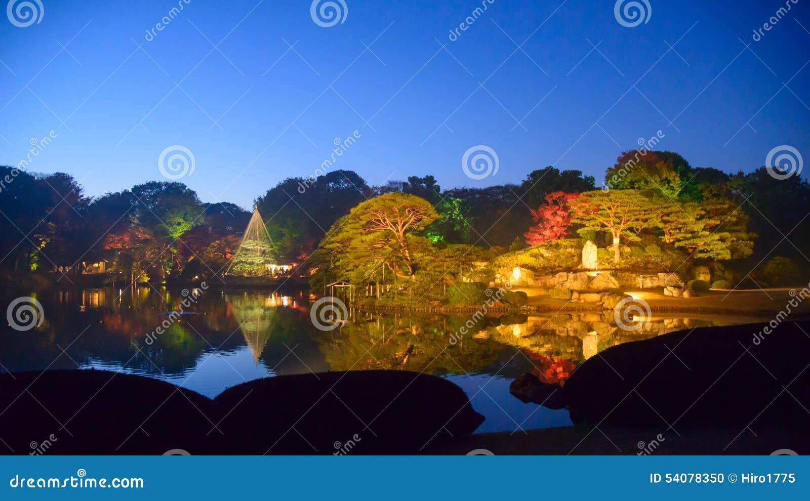 De herfstgebladerte in Rikugien-Tuin, Komagome, Tokyo
