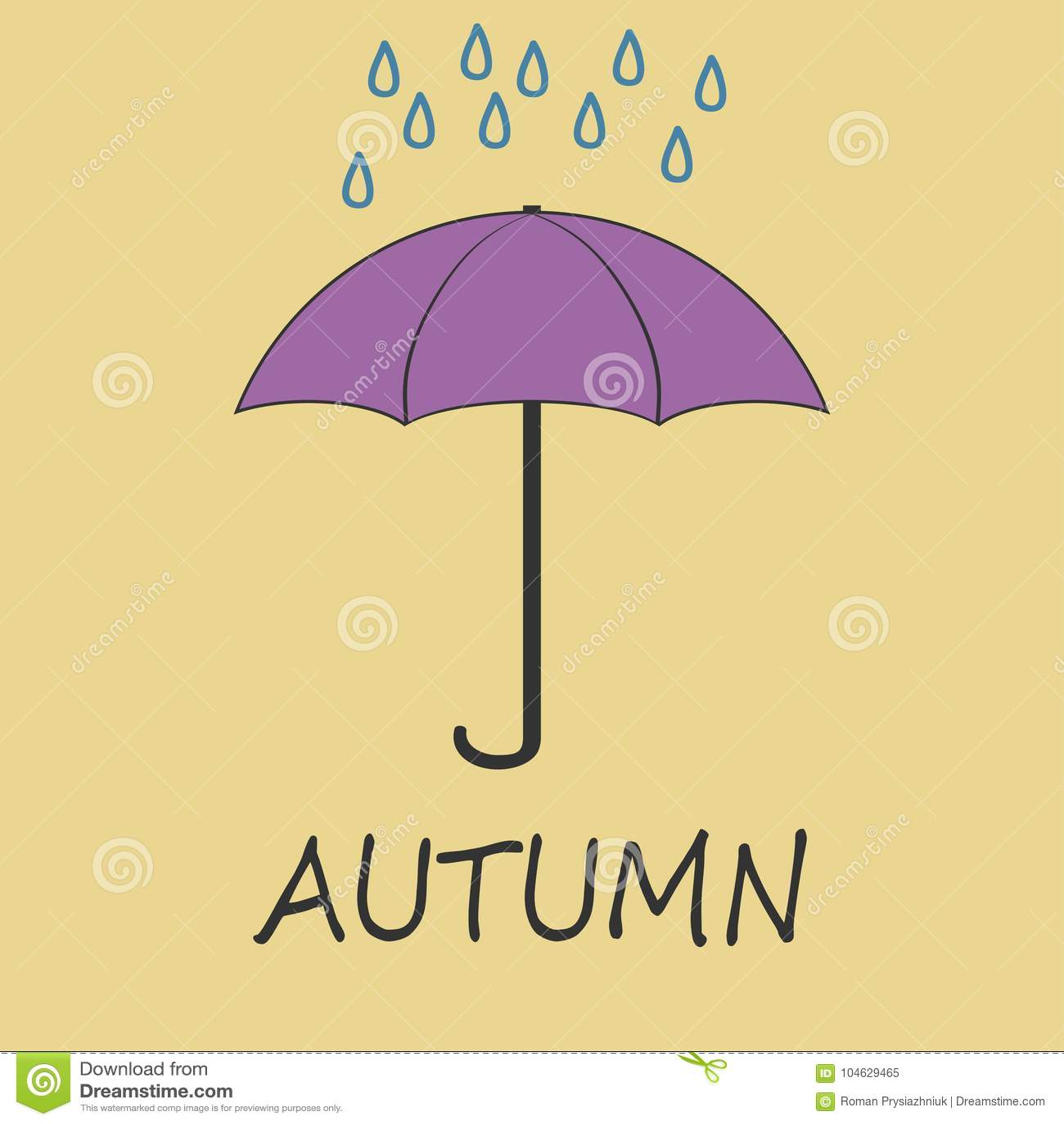 Download De Herfstillustratie Met Een Paraplu En Dalende Regendalingen Vector Illustratie - Illustratie bestaande uit oktober, reeks: 104629465