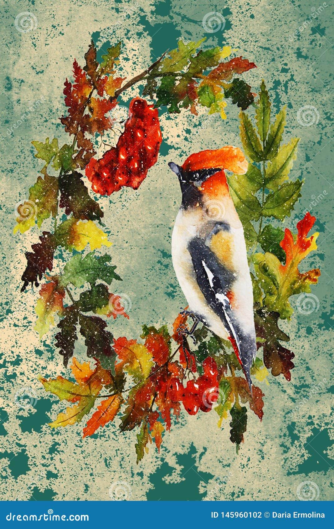 De herfstillustratie met vogel