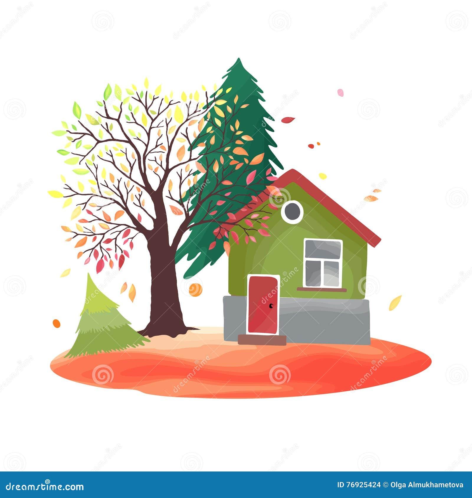 De herfstplatteland Illustratie met rustiek huis, seizoengebonden bomen, dalingsbladeren