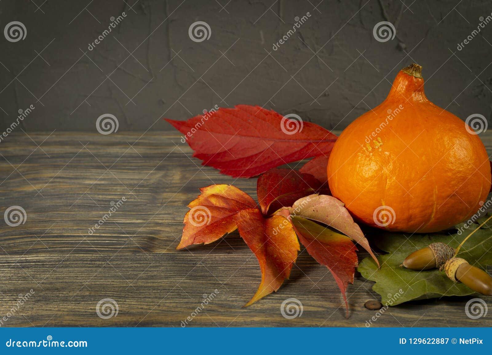 De herfststilleven met bladeren, pompoen en eikel