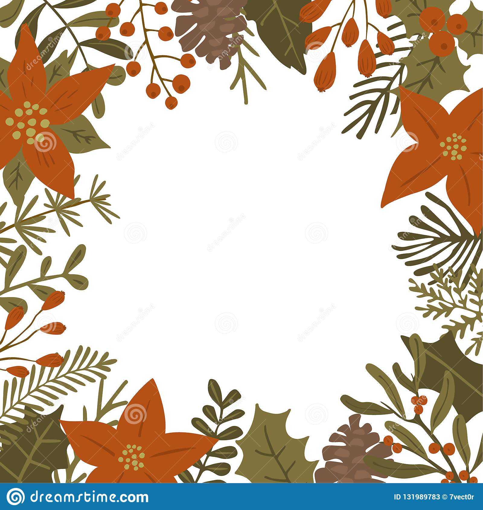 De het gebladerteinstallaties van de Kerstmiswinter, poinsettiabloemen verlaat takken, rode bessen en malplaatje van het denneapp
