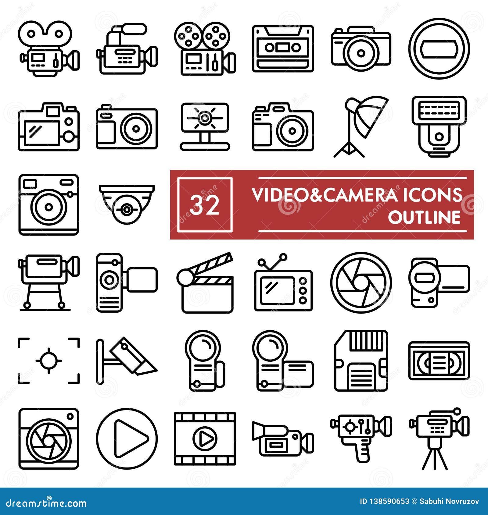 De het pictogramreeks van de Videocameralijn, de inzameling van camerasymbolen, vectorschetsen, embleemillustraties, foto onderte