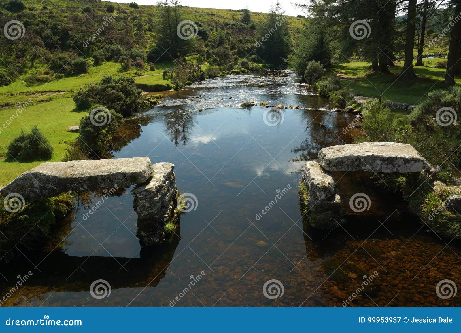 De het Pijltjerivier van het Oosten in Belever, het Nationale Park van Dartmoor, Devon, U