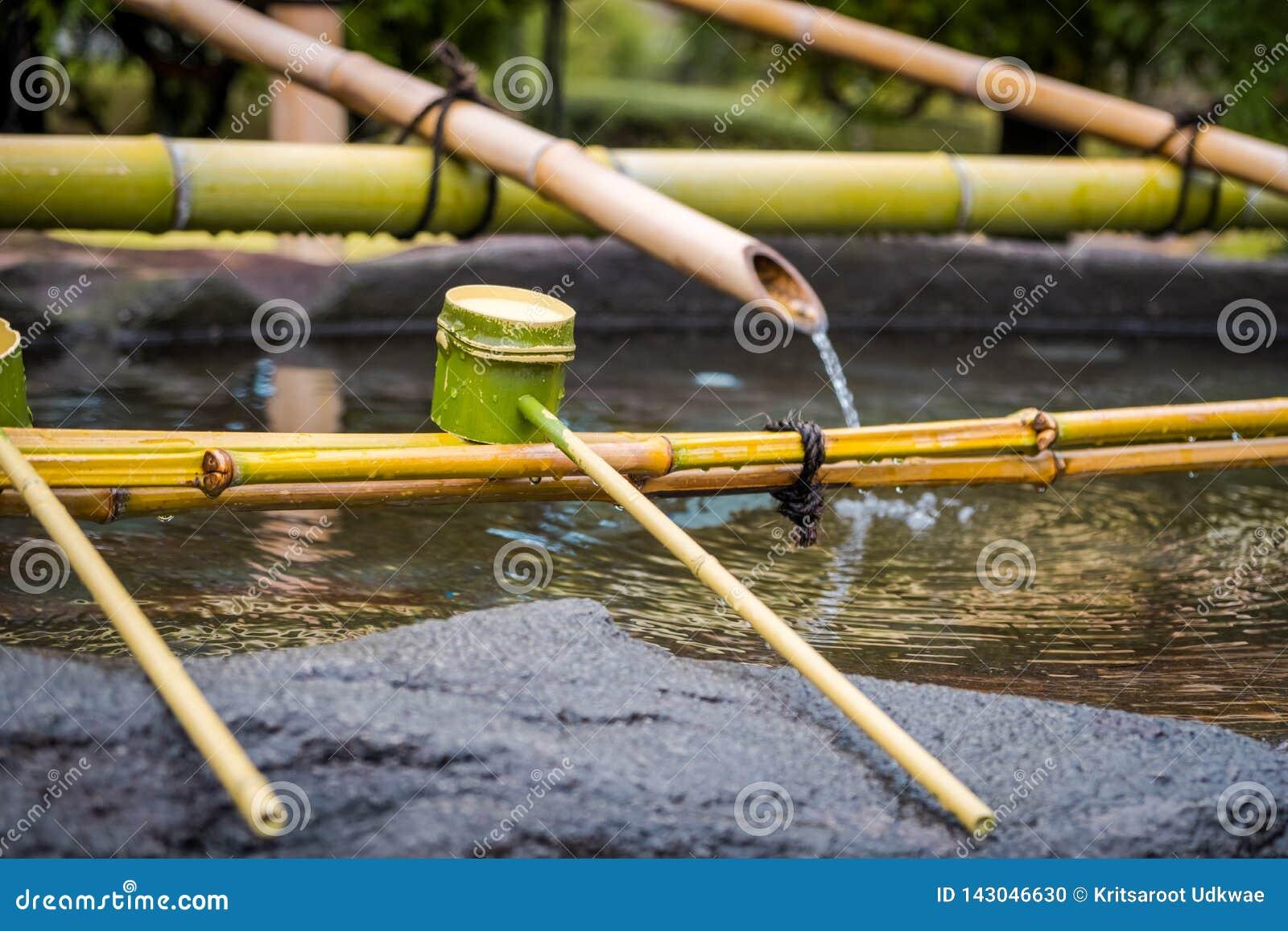 De het reinigen van Shinto Omairi ceremonie door te gebruiken water in bamboelepel vóór gaat aan tempel in Japan binnen