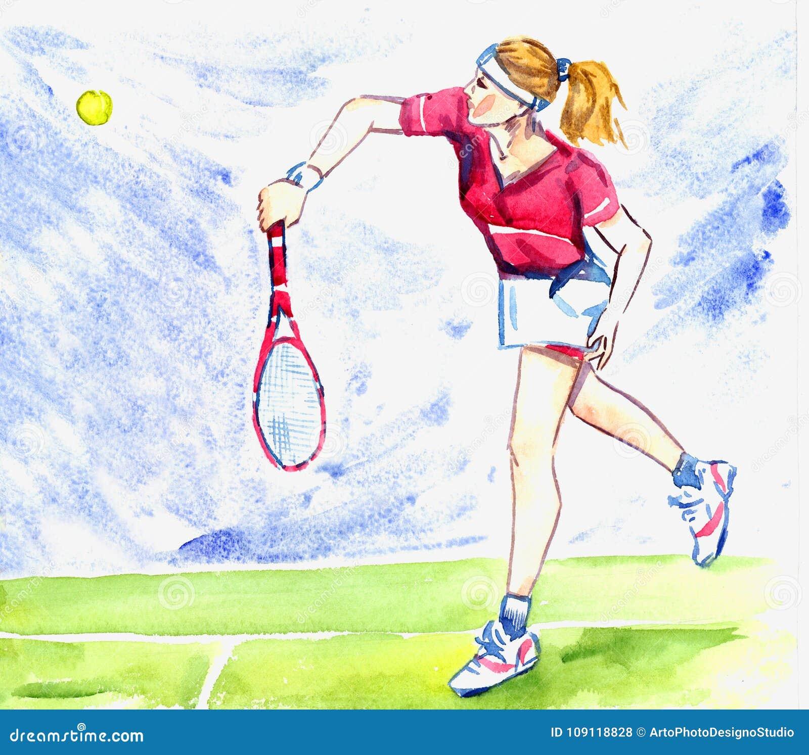 De het tennisspeler van de atletenvrouw raakt de bal door racket op het hof