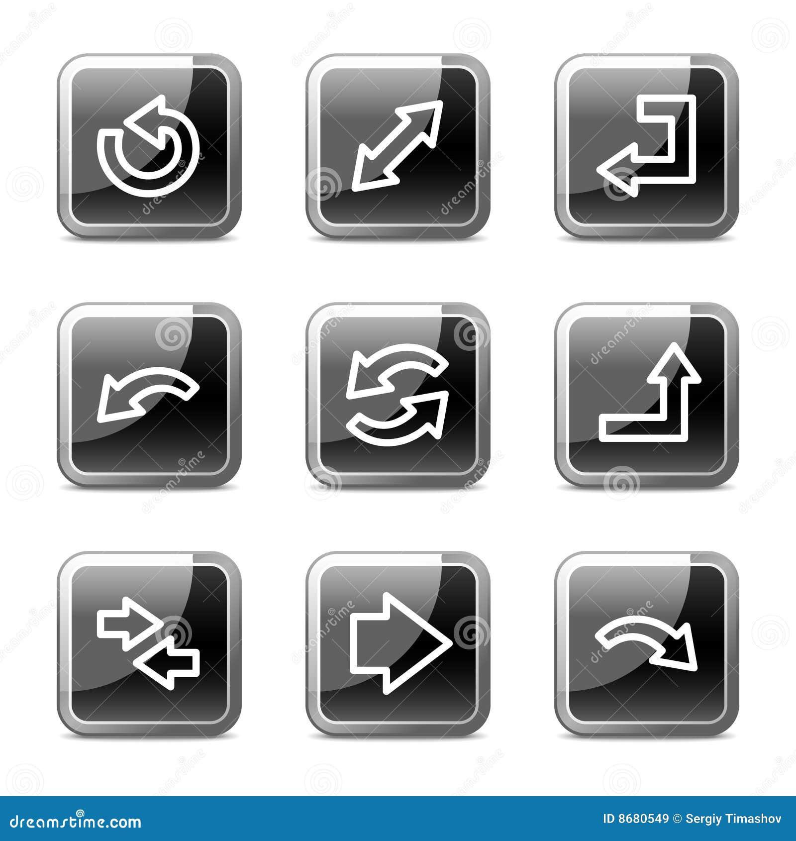 De het Webpictogrammen van pijlen, regelen glanzende knopenreeks