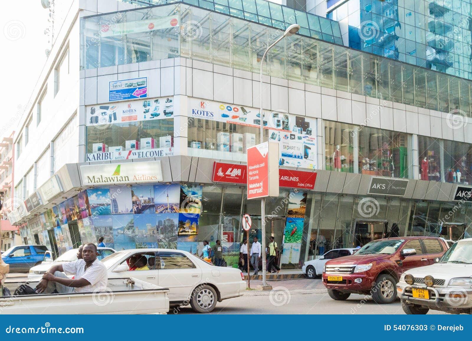 De het winkelen gebieden van Dar Es Salaam Van de binnenstad