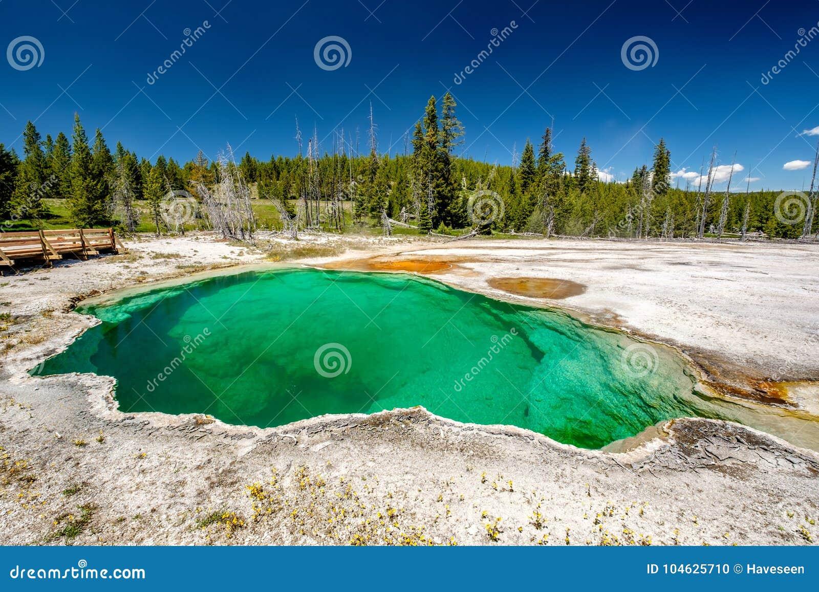 Download De Hete Thermische Lente In Yellowstone Stock Foto - Afbeelding bestaande uit landschap, mooi: 104625710