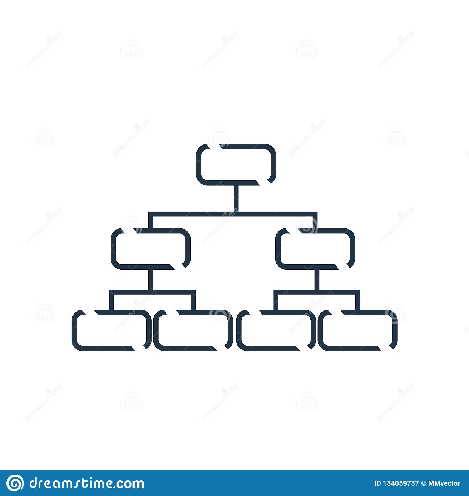 De hiërarchische die vector van het structuurpictogram op witte achtergrond, Hiërarchisch structuurteken wordt geïsoleerd