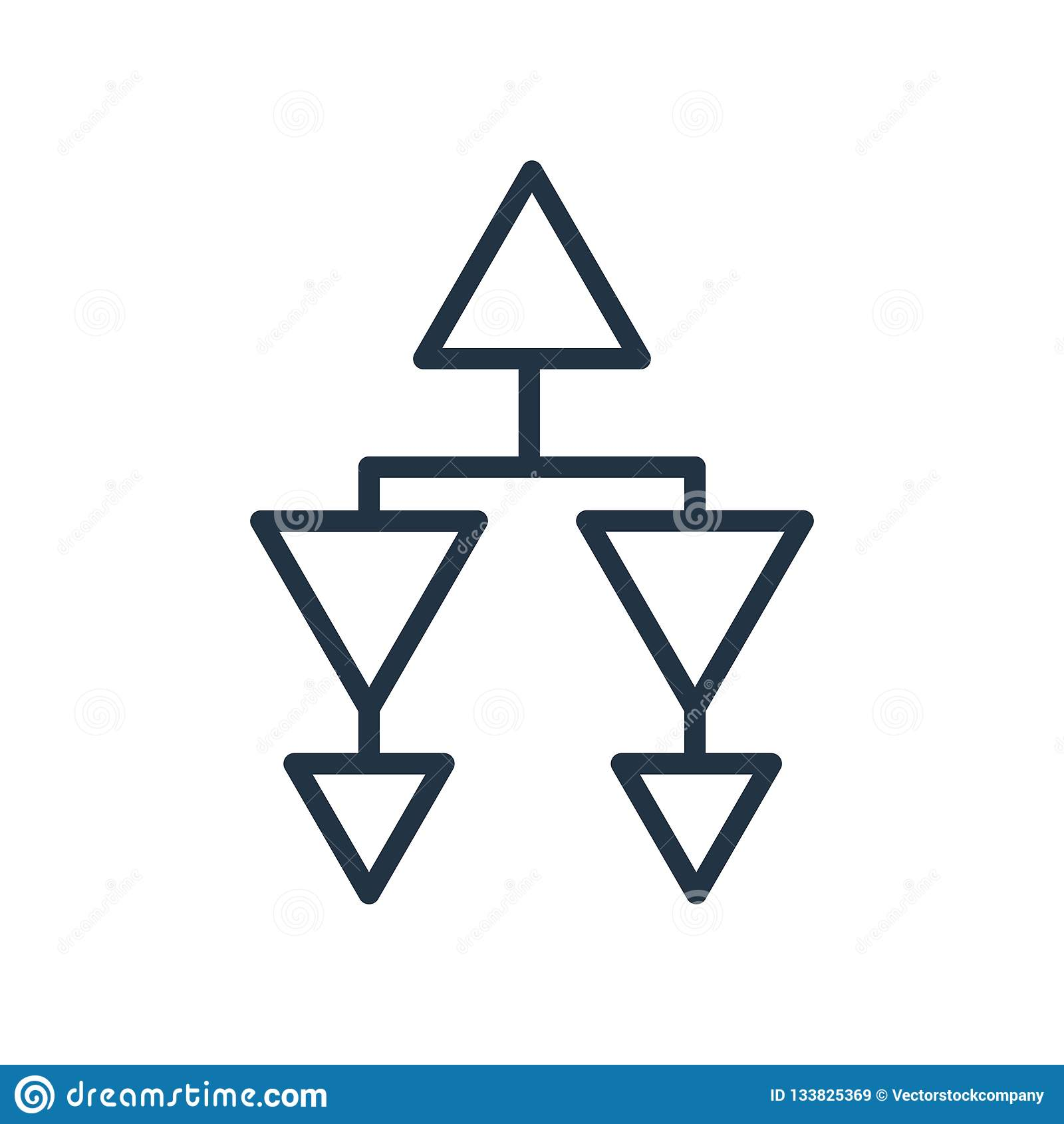 De hiërarchische die vector van het structuurpictogram op witte achtergrond wordt geïsoleerd