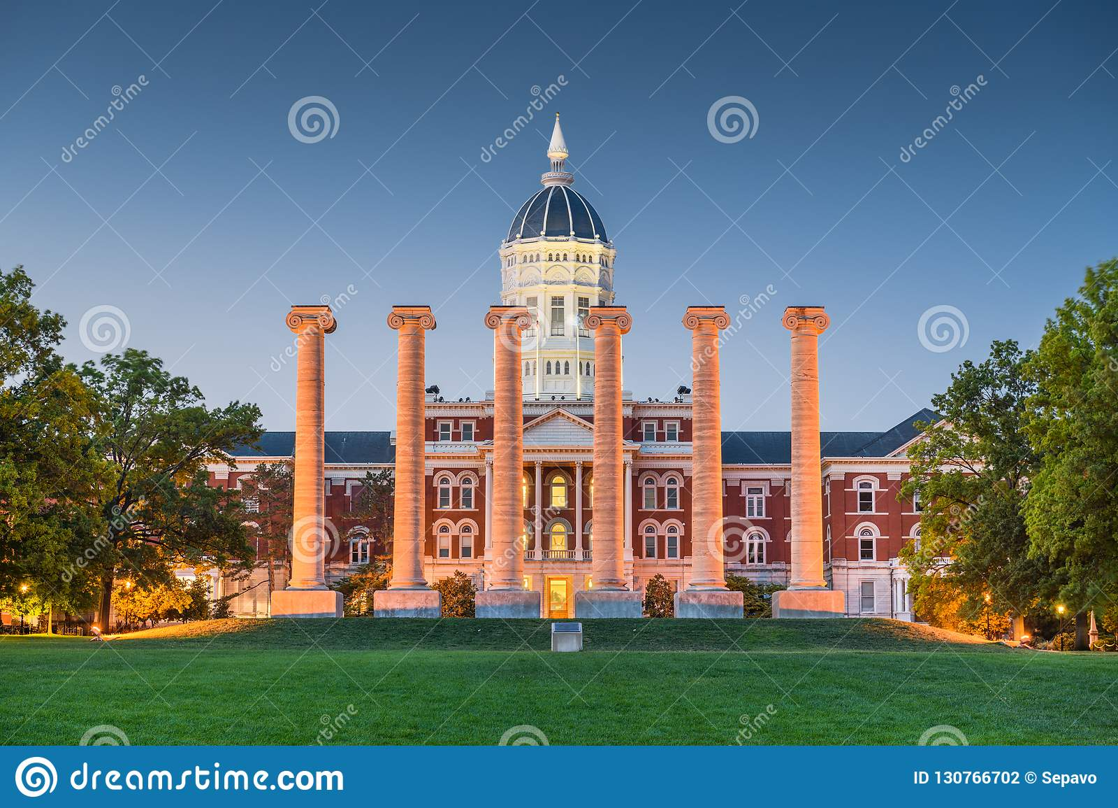De historische campus van Colombia, Missouri, de V.S.