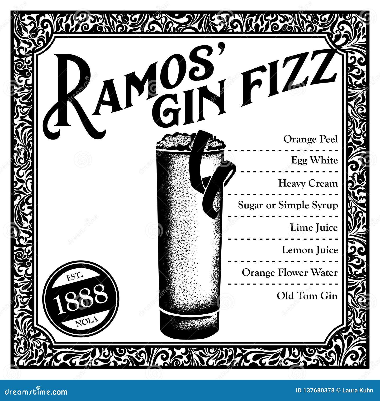 De historische Cocktail van New Orleans Ramos Gin Fizz