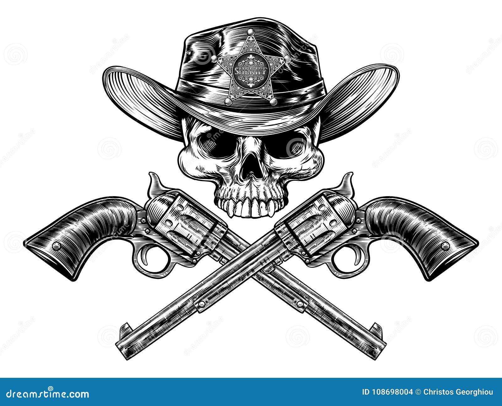 De Hoedenschedel en Pistolen van sheriffstar badge cowboy
