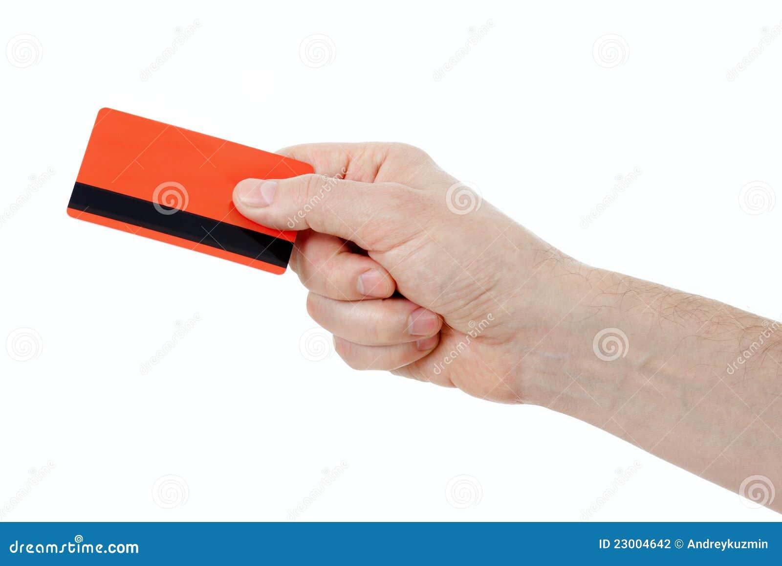 De holding van de hand kleinhandels of creditcard met magstripe