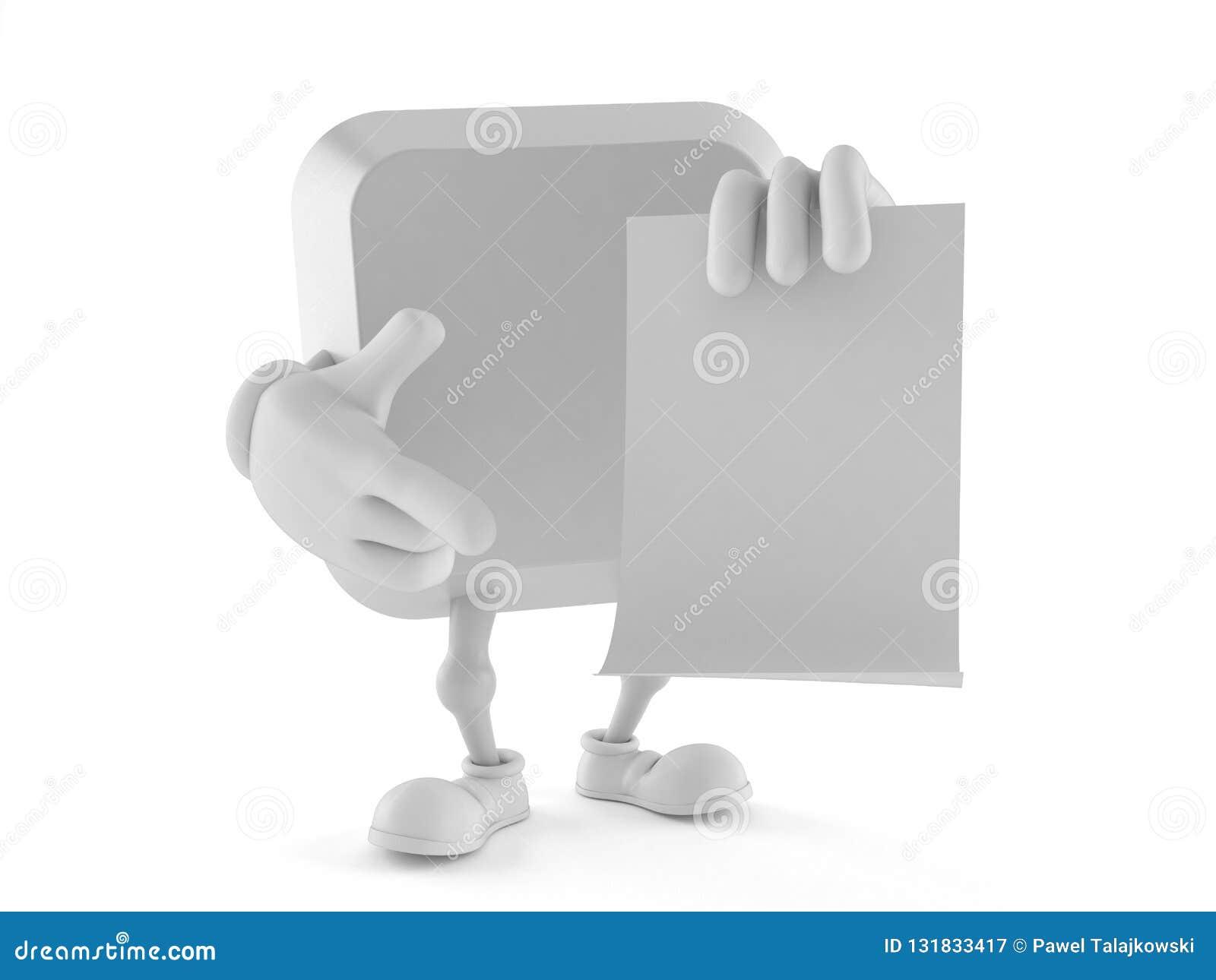 De holdings leeg blad van het computer zeer belangrijk karakter van document
