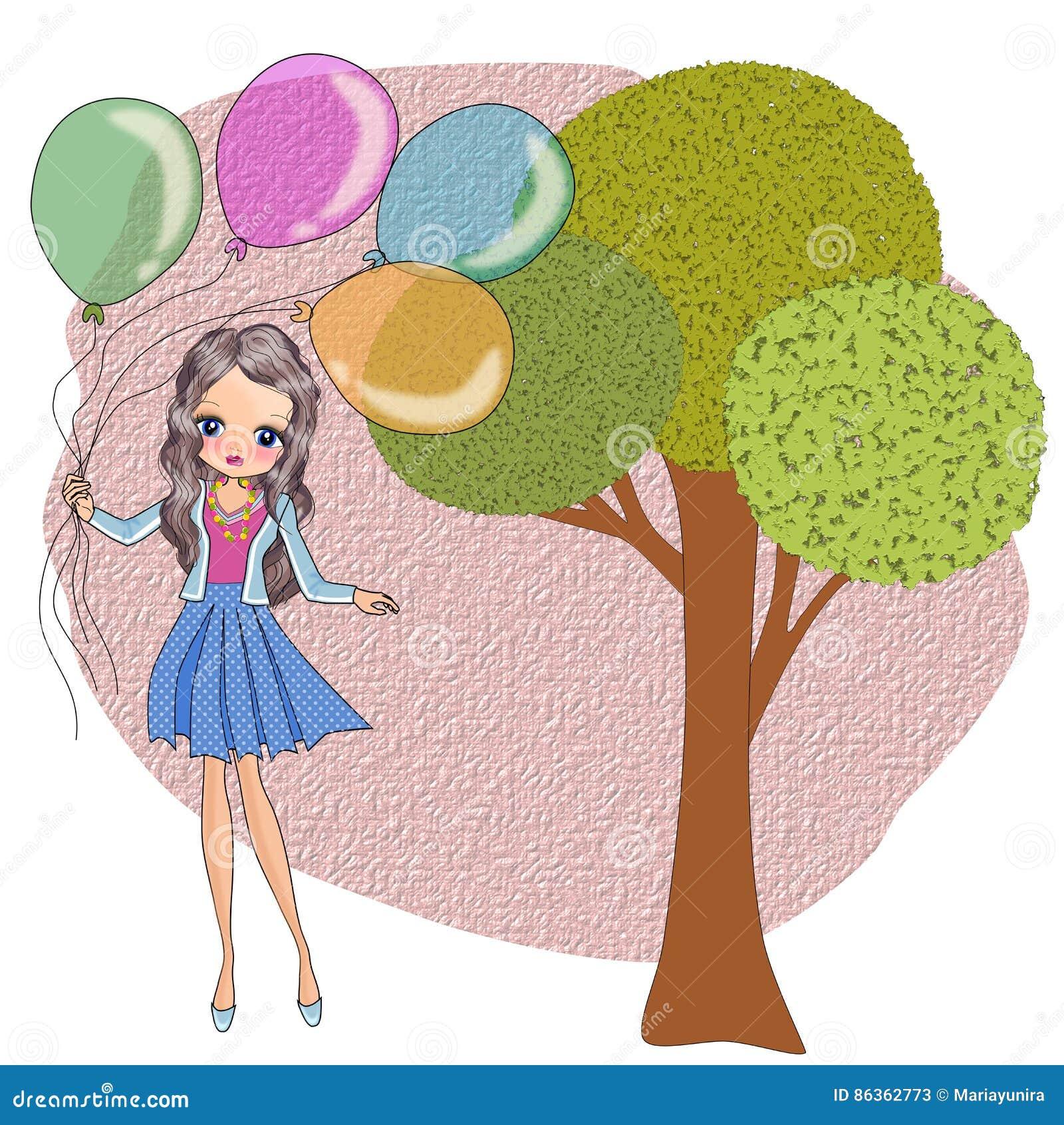 De holdingsballons van het jonge geitjesmeisje