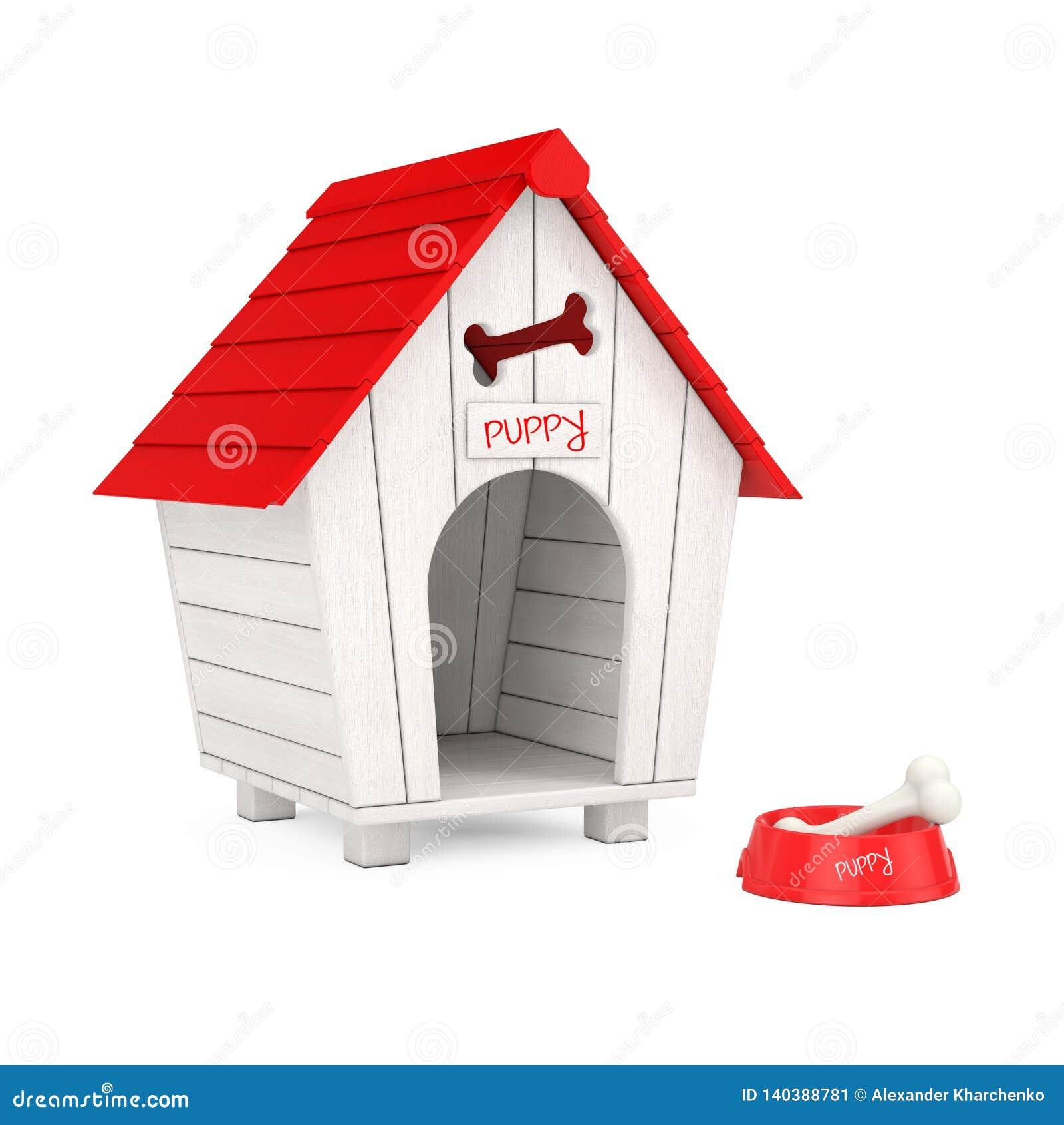De hond kauwt Been in Rode Plastic Kom voor Hond voor het Houten Huis van de Beeldverhaalhond het 3d teruggeven
