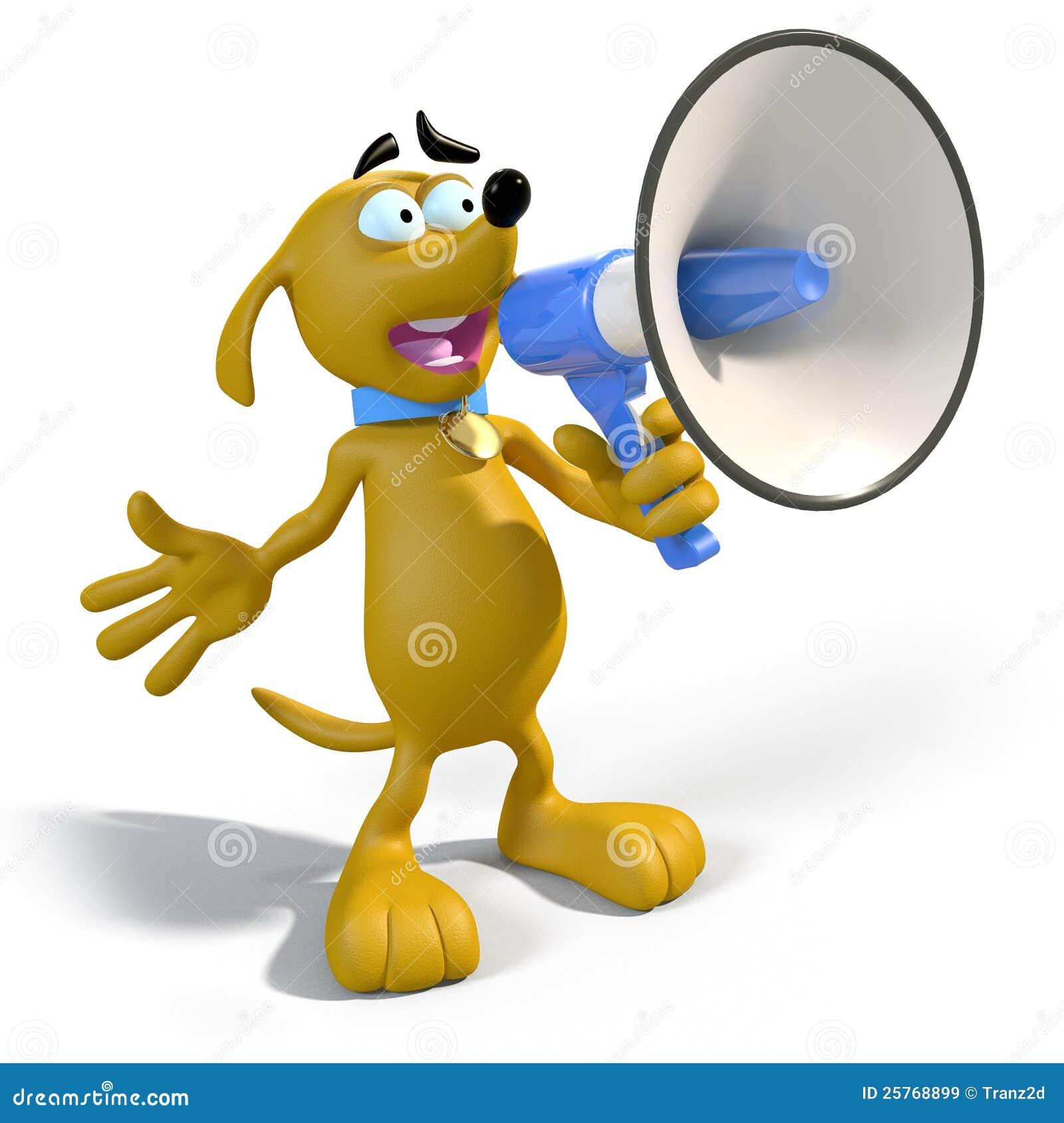 De hond van het beeldverhaal met megafoon