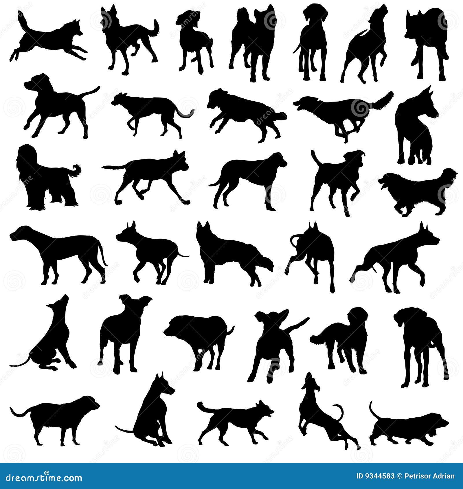 De honden van het huisdier silhouetteren vectorinzameling