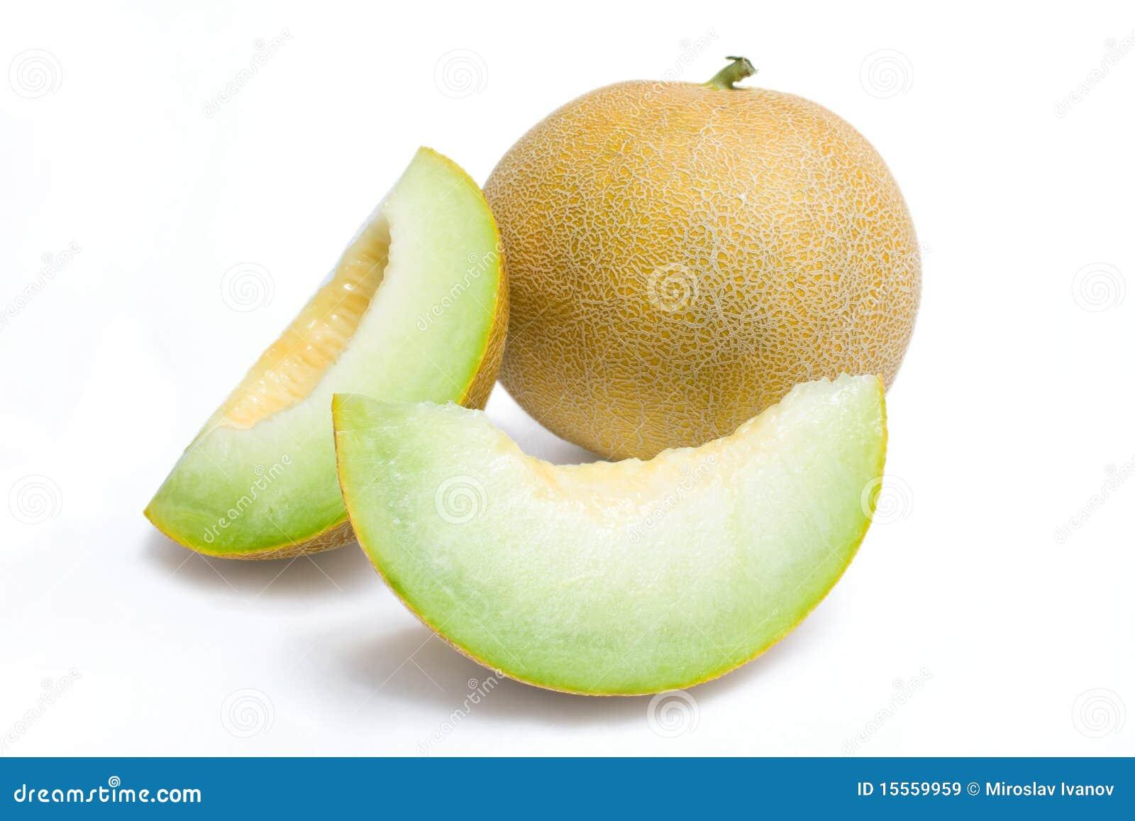 De honingdauw van de meloen en twee meloenplakken
