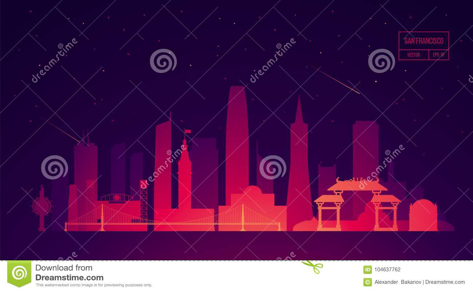 Download De Horizon Die Van San Francisco Vectorillustratie Bouwen Vector Illustratie - Illustratie bestaande uit mooi, groet: 104637762