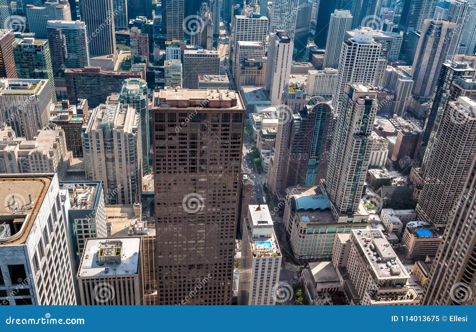 De Horizon hoogste mening van Chicago met wolkenkrabbers van John Hancock Center, de V.S.