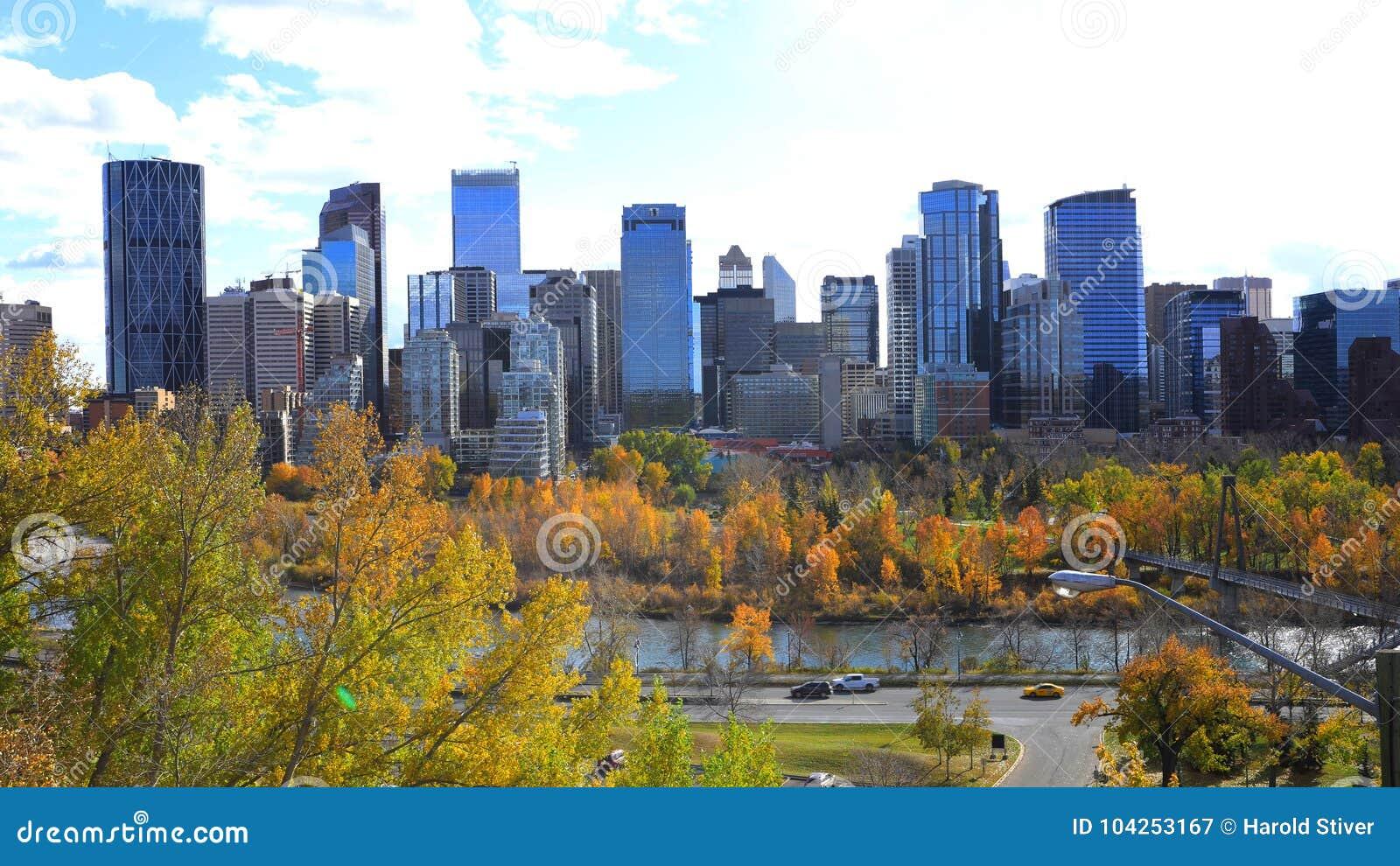 De horizon van Calgary, Canada met de herfstgebladerte