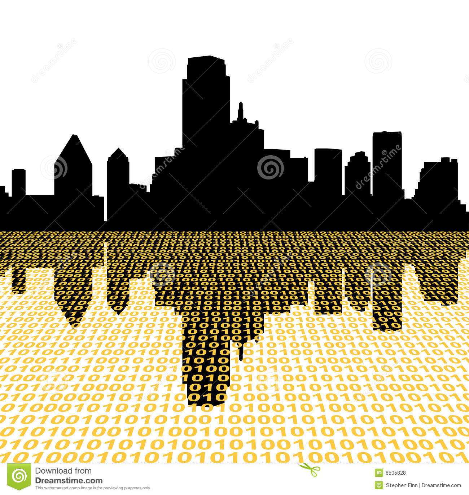 De horizon van Dallas met binair getal