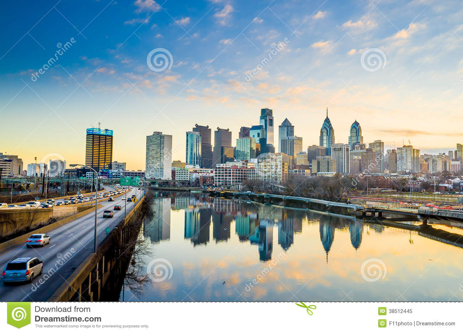 De Horizon van de binnenstad van Philadelphia, Pennsylvania.