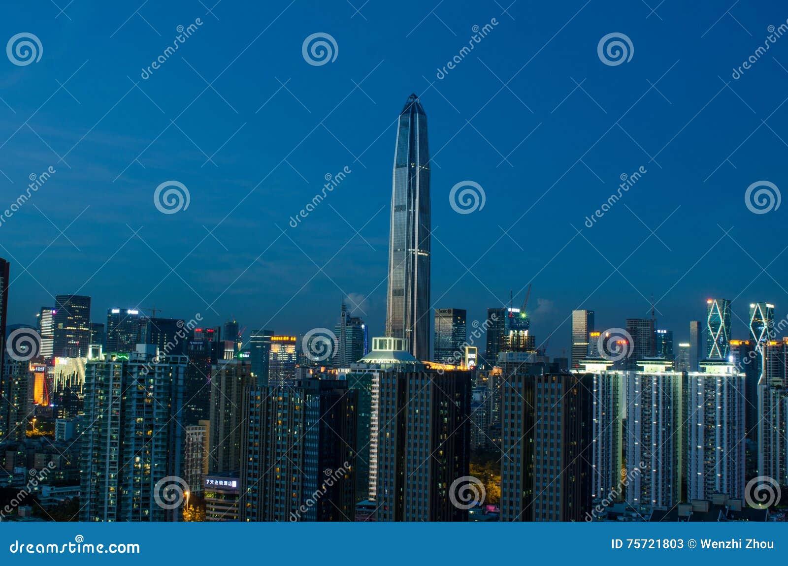 De horizon van de Shenzhenstad