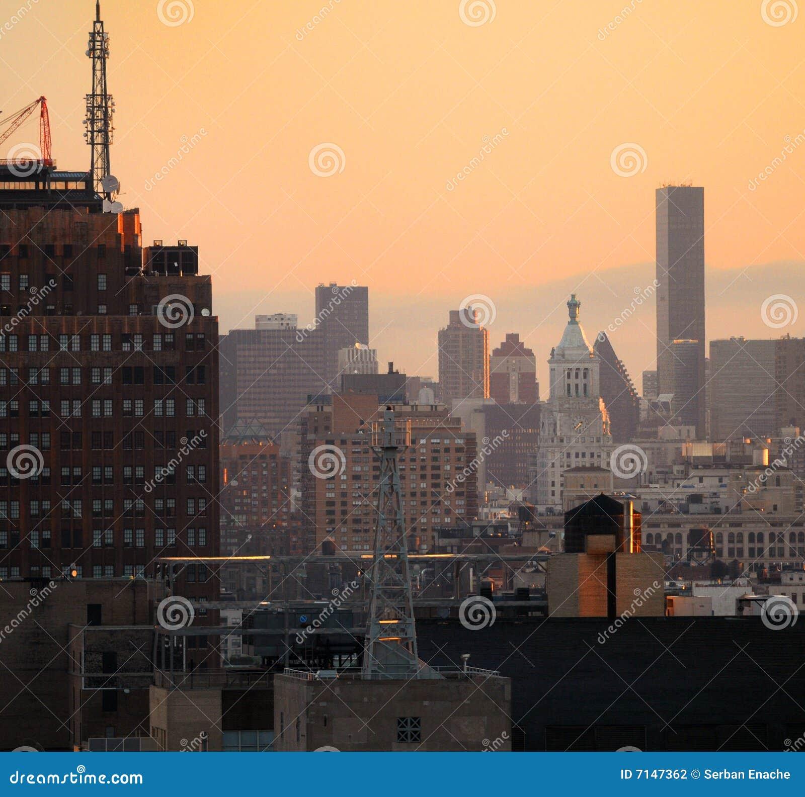 De horizon van de stad bij schemer
