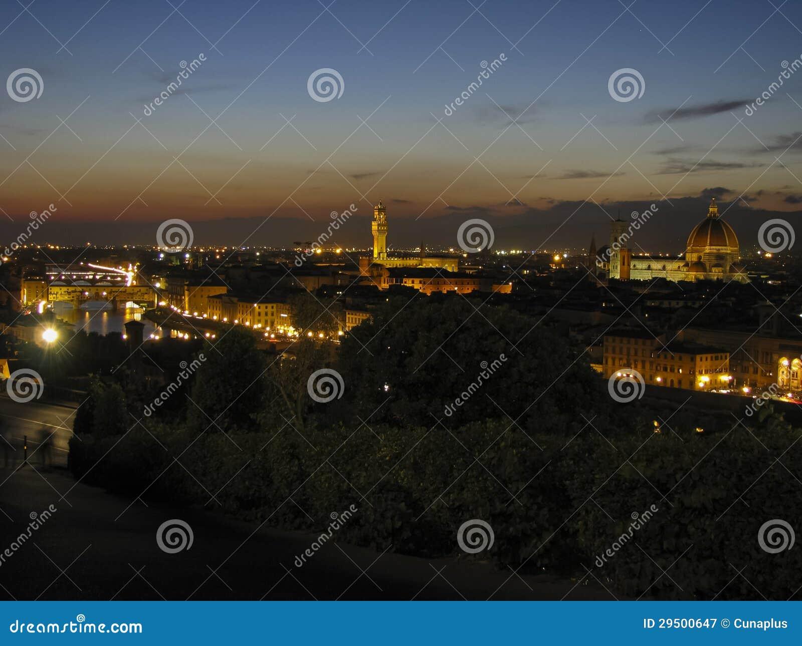 De horizon van Florence bij nacht in de zomer
