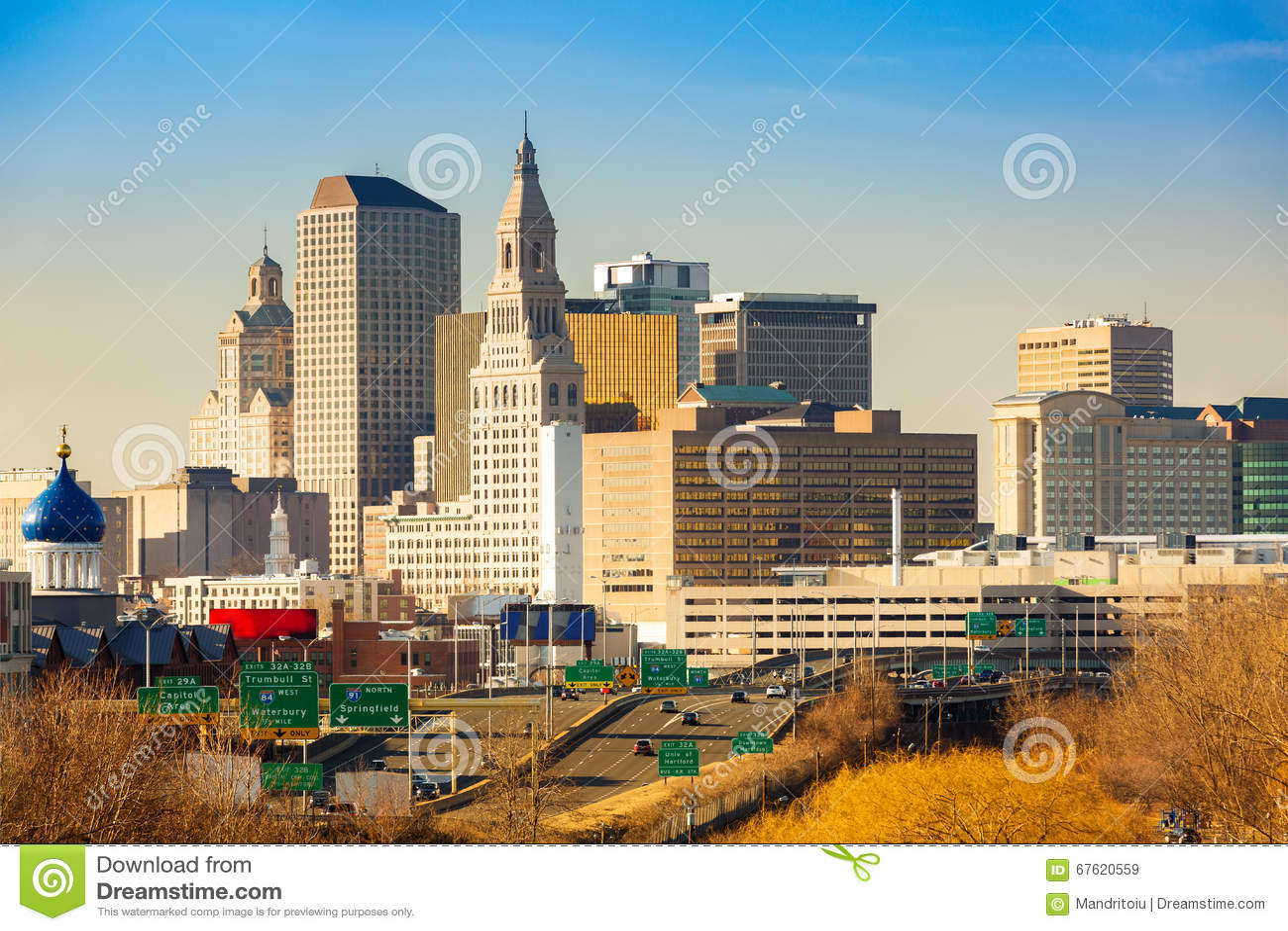 De horizon van Hartford op een zonnige middag