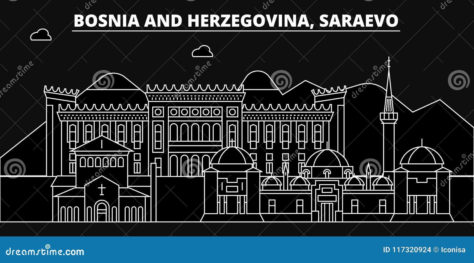 De horizon van het Saraevosilhouet Bosnië-Herzegovina - de vectorstad van Saraevo, bosnische lineaire architectuur, gebouwen