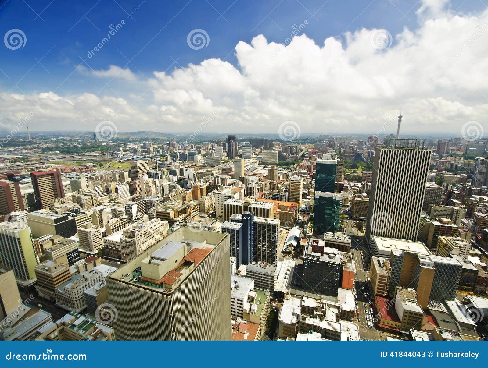 De Horizon van Johannesburg vanaf bovenkant van Zuid-Afrika