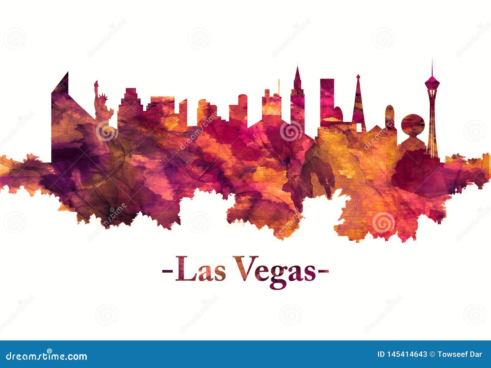 De horizon van Las Vegas in rood