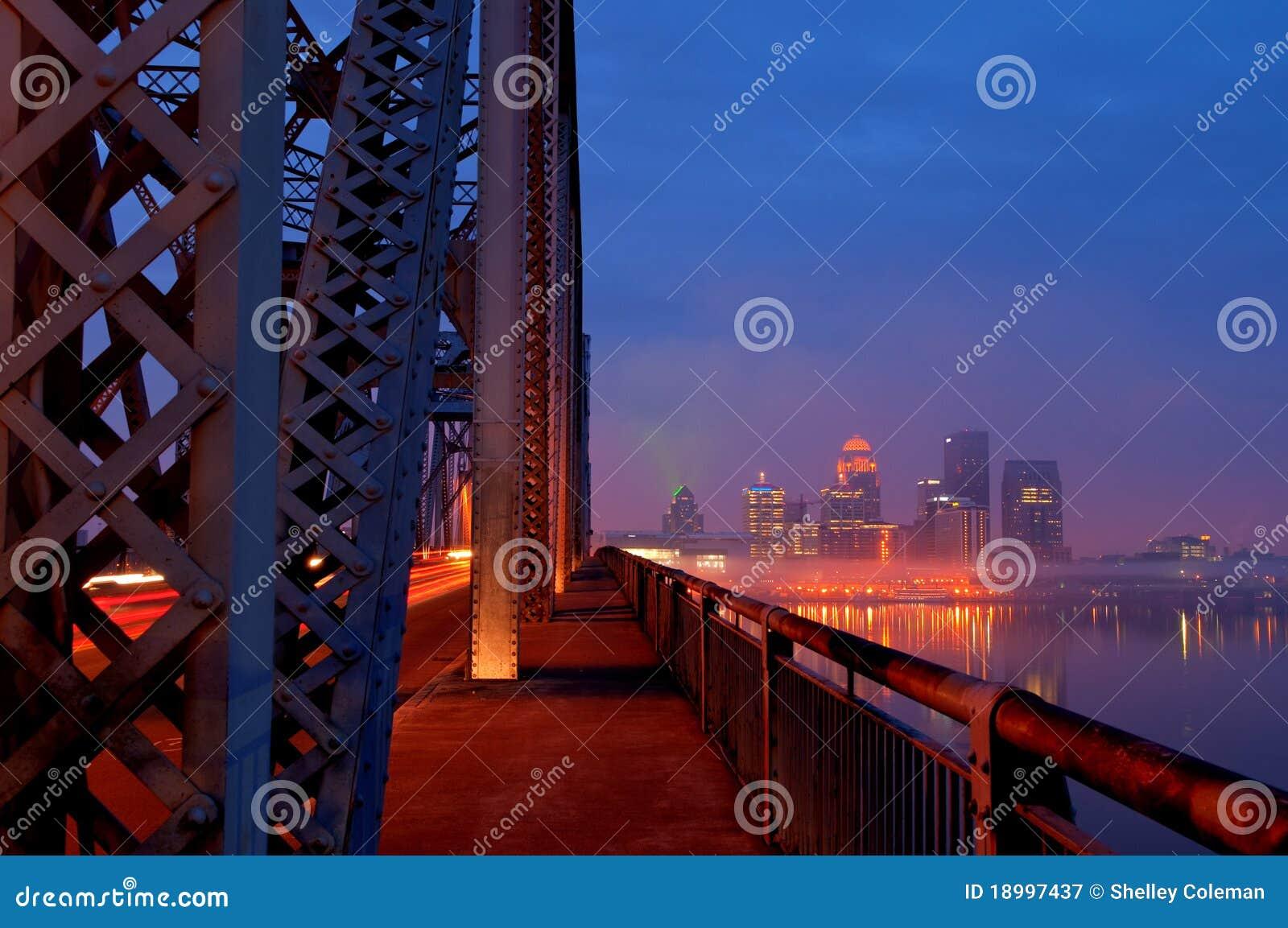 De Horizon van Louisville, Kentucky bij Zonsopgang