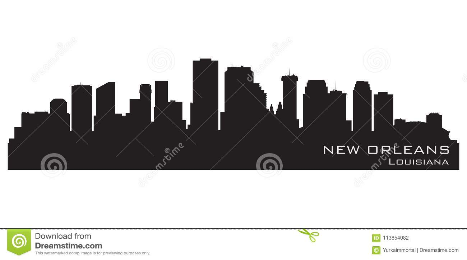 De Horizon van New Orleans, Louisiane Gedetailleerd vectorsilhouet