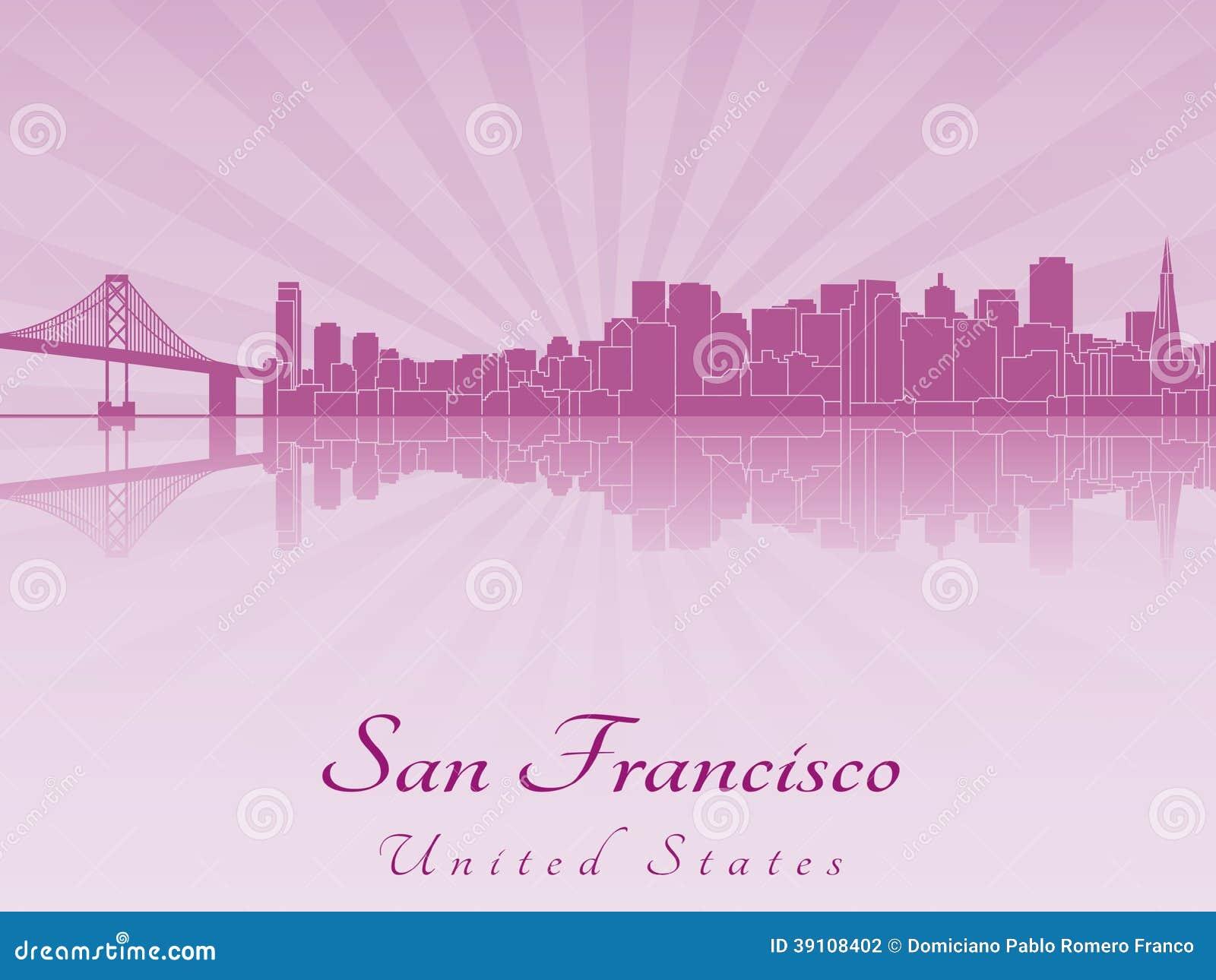 De horizon van San Francisco in purpere stralende orchidee