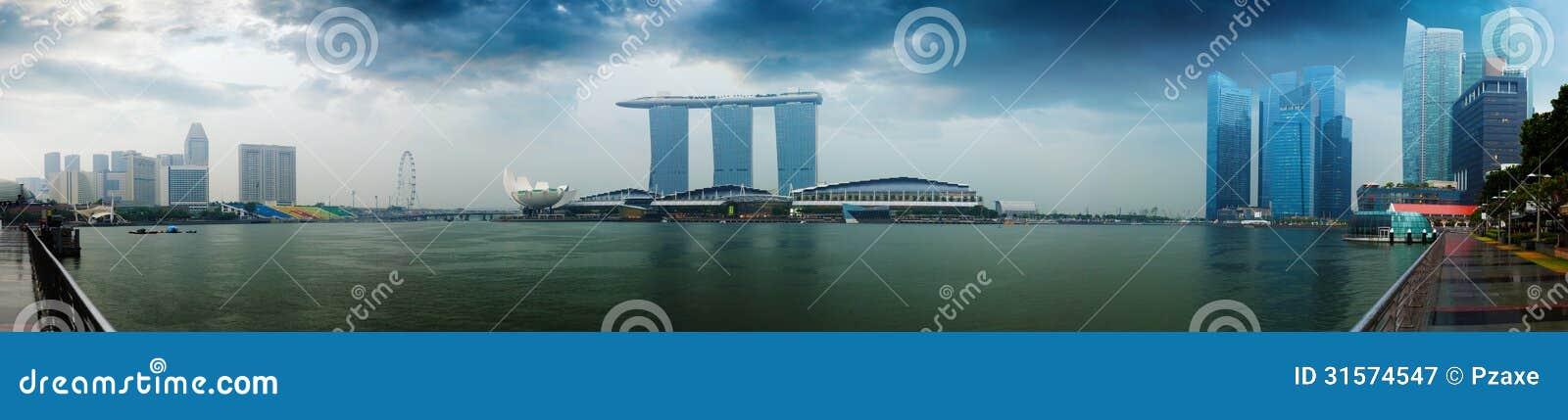 De horizon van Singapore - hotels en bureaus met bezinningspanorama