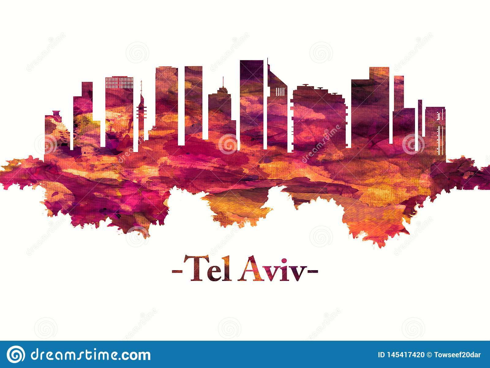 De horizon van tel. Aviv Israel in rood